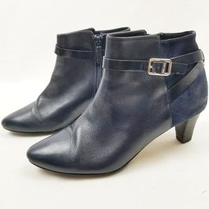 Cole Haan Buckle Cross Strap Suede Booties